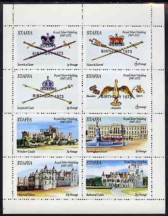 Staffa 1973 Queen's Birthday opt'd on Silver Wedding perf sheetlet containing set of 8 values unmounted mint