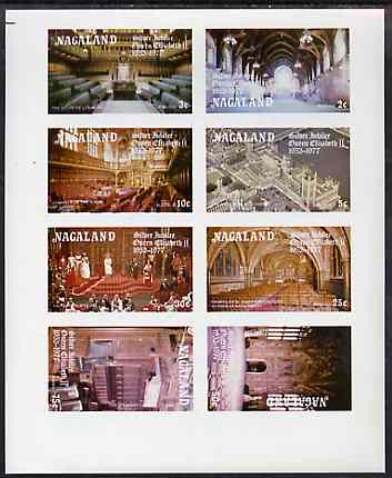 Nagaland 1977 Silver Jubilee imperf sheetlet containing set of 8 values unmounted mint