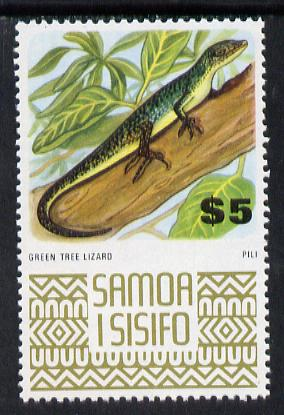 Samoa 1972-76 Green Lizard $5 from def set unmounted mint, SG 399c*