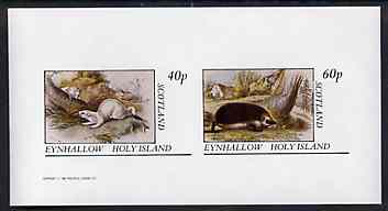Eynhallow 1982 Animals #08 (Stoat & Hedgehog) imperf set of 2 values unmounted mint