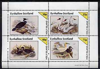 Eynhallow 1981 Birds #43 (Cormorant, Swan etc) perf sheetlet containing set of 4 values unmounted mint