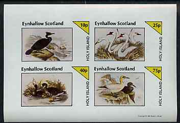 Eynhallow 1981 Birds #43 (Cormorant, Swan etc) imperf sheetlet containing set of 4 values unmounted mint