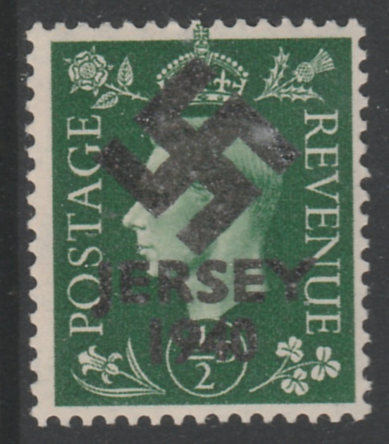 Jersey 1940 Swastika opt on Great Britain KG6 1/2d green produced during the German Occupation but unissued due to local feelings. This is a copy of the overprint on a ge...