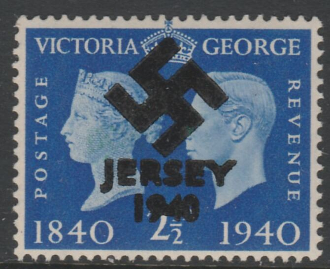 Jersey 1940 Swastika opt on Great Britain KG6 Centenary 2.5d produced during the German Occupation but unissued due to local feelings. This is a copy of the overprint on a genuine stamp with forgery handstamped on the back, unmounted mint in presentation folder.