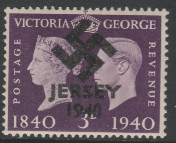 Jersey 1940 Swastika opt on Great Britain KG6 Centenary 3d produced during the German Occupation but unissued due to local feelings. This is a copy of the overprint on a genuine stamp with forgery handstamped on the back, unmounted mint in presentation folder.