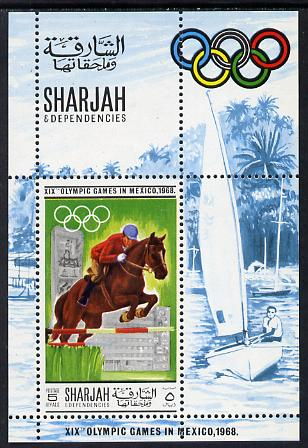 Sharjah 1968 Olympics (Show Jumping & Yacht) perf m/sheet unmounted mint Mi BL40