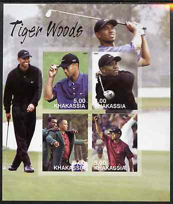 Chakasia 2001 Tiger Woods imperf sheetlet containing 4 values complete unmounted mint