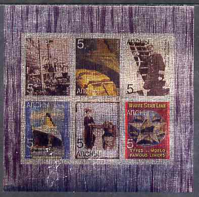 Abkhazia 1998 White Star Line - Titanic imperf sheetlet containing set of 6 values printed on metallic foil unmounted mint