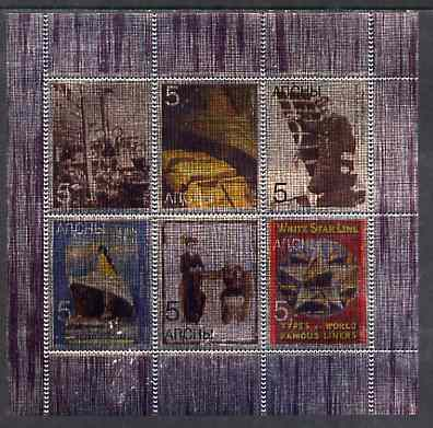 Abkhazia 1998 White Star Line - Titanic perf sheetlet containing set of 6 values printed on metallic foil unmounted mint