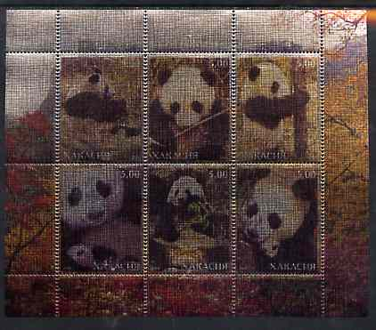 Chakasia 2000 Giant Pandas perf sheetlet containing set of 6 values printed on metallic foil unmounted mint