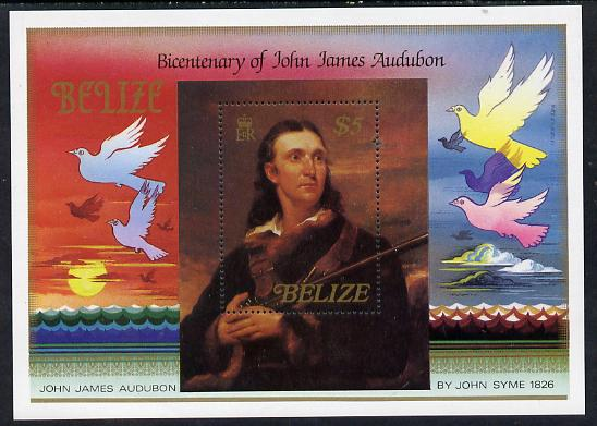 Belize 1985 Birth Bicentenary of John Audubon (Birds) $5 perf m/sheet unmounted mint, SG MS 826