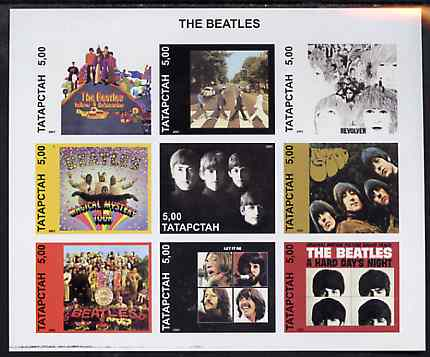 Tatarstan Republic 2001 The Beatles (LP Sleeves) imperf sheetlet containing set of 9 values unmounted mint