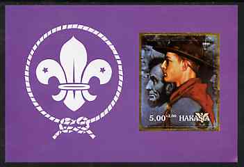 Chakasia 2000 Scouts (with Abraham Lincoln by Norman Rockwell) imperf m/sheet unmounted mint, stamps on scouts, stamps on personalities, stamps on american, stamps on presidents, stamps on arts