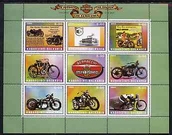 Kabardino-Balkaria Republic 1999 Harley Davidson Motorcycles perf sheetlet containing set of 9 values unmounted mint