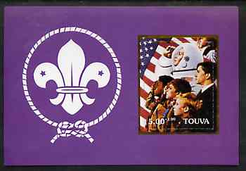 Touva 2000 Scouts (with Astronaut by Norman Rockwell) rouletted m/sheet unmounted mint