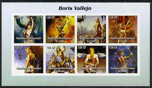 Congo 2004 Fantasy Paintings by Boris Vallejo imperf sheetlet containing 8 values, unmounted mint