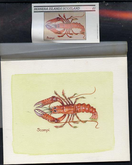 Bernera 1982 Shell Fish (Scampi) original artwork by Sharon File of the B L Kearley Studio, watercolour on board 115 x 90 mm plus issued imperf s/sheet incorporating this...