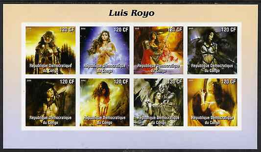 Congo 2004 Fantasy Paintings by Luis Royo imperf sheetlet containing 8 values, unmounted mint, stamps on arts, stamps on fantasy