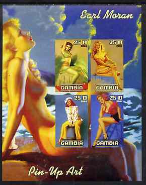 Gambia 2003 Pin-up Art of Earl Moran imperf sheetlet containing 4 values, unmounted mint