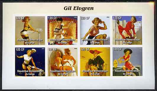 Congo 2004 Pin-Up Art by Gil Elvgren #2 imperf sheetlet containing 8 values, unmounted mint