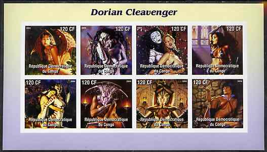 Congo 2004 Fantasy Paintings by Dorian Cleavenger imperf sheetlet containing 8 values, unmounted mint