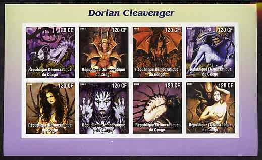 Congo 2003 Paintings of Fantasies by Dorian Cleavenger imperf sheetlet containing 8 values unmounted mint