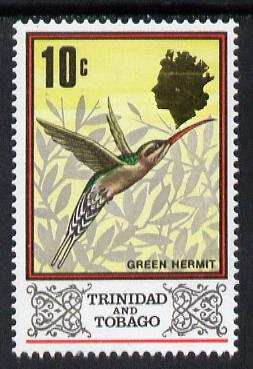 Trinidad & Tobago 1976 Green Hermit 10c def with wmk inverted unmounted mint, SG 473Ei (blocks available pro-rata)