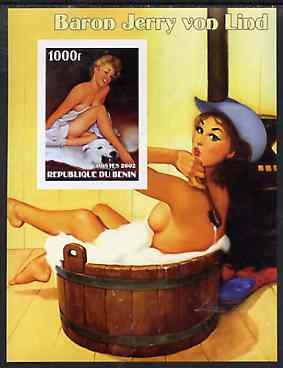 Benin 2002 Fantasy Art by Baron Jerry von Lind #1 (Pin-ups) imperf m/sheet unmounted mint