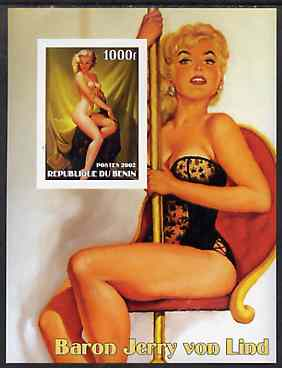 Benin 2002 Fantasy Art by Baron Jerry von Lind #2 (Pin-ups) imperf m/sheet unmounted mint