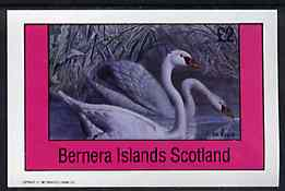 Bernera 1981 Birds #36 (Swans) imperf deluxe sheet (�2 value) unmounted mint