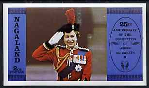 Nagaland 1978 Coronation 25th Anniversary imperf deluxe sheet (Queen Saluting at Trooping the Colour) unmounted mint