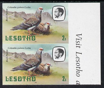 Lesotho 1981 Rock Pigeon 2s def in unmounted mint imperf pair* (SG 438)