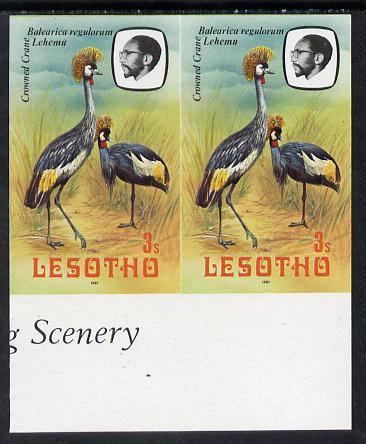 Lesotho 1981 Crowned Crane 3s def in unmounted mint imperf pair* (SG 439)