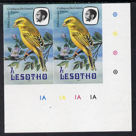 Lesotho 1981 Yellow Canary 7s def in unmounted mint imperf pair* (SG 442)