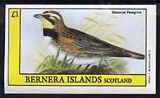 Bernera 1982 Birds #48 (Lark) imperf souvenir sheet (�1 value) unmounted mint