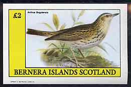 Bernera 1982 Birds #48 (Pipit) imperf deluxe sheet (�2 value) unmounted mint