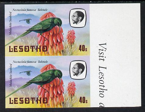 Lesotho 1981 Malachite Sunbird 40s def in unmounted mint imperf pair* (SG 445)