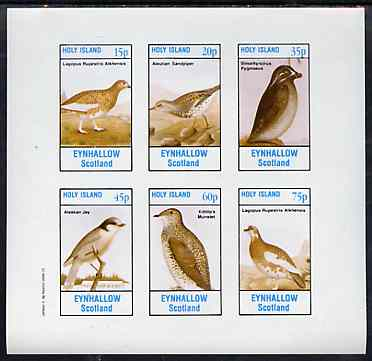 Eynhallow 1982 Birds #46 (Jay, Sandpiper, Auklet, etc) imperf set of 6 values unmounted mint