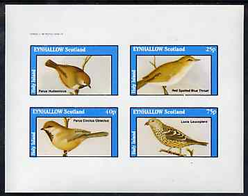 Eynhallow 1982 Birds #47 imperf set of 4 values (value omitted from upper left stamp) unmounted mint