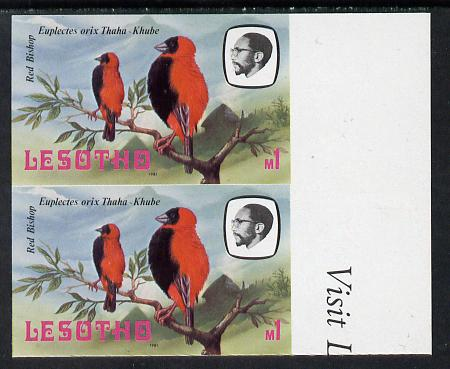 Lesotho 1981 Red Bishop M1 def in unmounted mint imperf pair* (SG 448)
