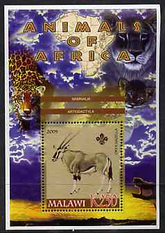 Malawi 2005 Animals of Africa - Gazelle perf m/sheet with Scout Logo & Lions in background, unmounted mint