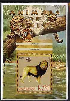 Malawi 2005 Animals of Africa - Lion perf m/sheet with Scout Logo, other big cats in background, unmounted mint