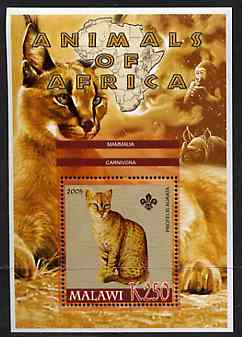 Malawi 2005 Animals of Africa - Golden Cat perf m/sheet with Scout Logo, Rhino & Ape in background, unmounted mint