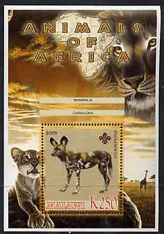 Malawi 2005 Animals of Africa - Hunting Dog perf m/sheet with Scout Logo, Big Cats & Giraffe in background, unmounted mint