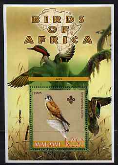 Malawi 2005 Birds of Africa - Kestrel perf m/sheet with Scout Logo and Ducks in background, unmounted mint