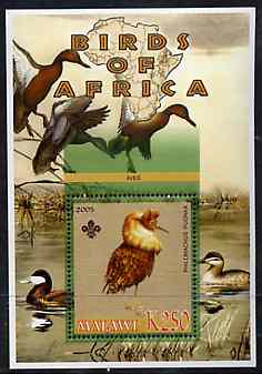 Malawi 2005 Birds of Africa - Ruff perf m/sheet with Scout Logo and Ducks in background, unmounted mint