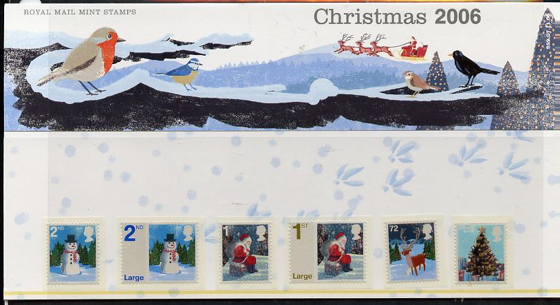 Great Britain 2006 Christmas self adhesive set of 6 values in official presentation pack unmounted mint, SG 2678-83