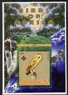 Malawi 2005 Birds of Africa - Barn Owl perf m/sheet with Scout Logo and Lion in background, unmounted mint