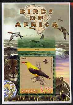 Malawi 2005 Birds of Africa - Oriole perf m/sheet with Scout Logo and Lions in background, unmounted mint
