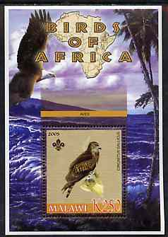 Malawi 2005 Birds of Africa - Eagle perf m/sheet with Scout Logo, unmounted mint